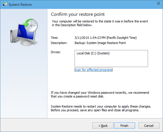 Windows 10 - Confirming the restore point