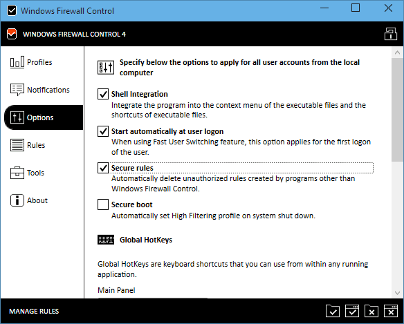 Windows Firewall Control - options