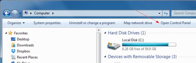 Control Panel from Windows Explorer