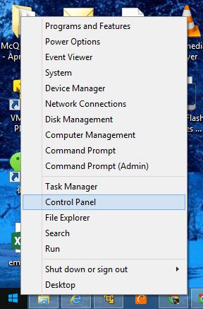 Win X menu with control panel