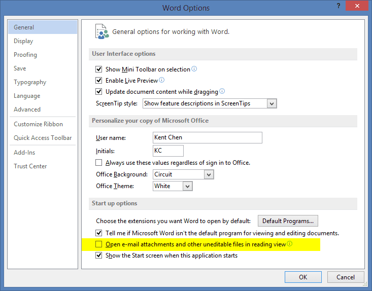 Word Option to disable reading mode