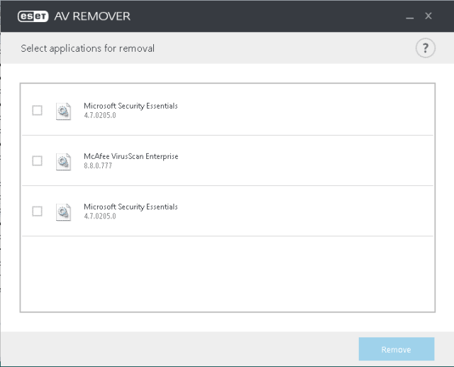 ESET AV Remover - listed antivirus software found