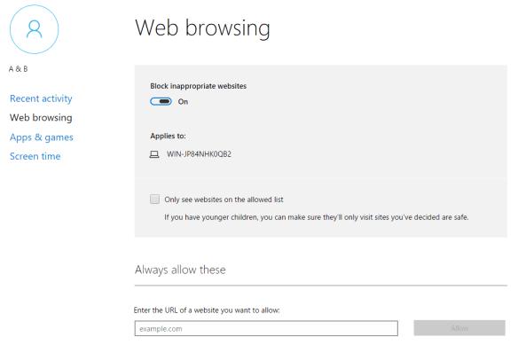 Family - web browsing