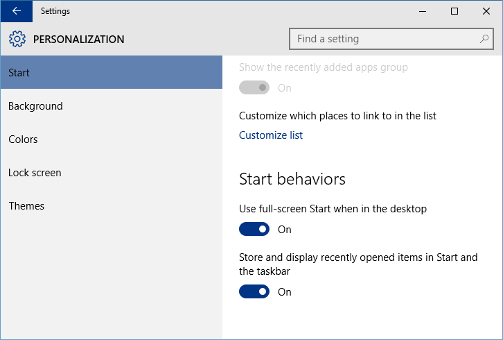 Resize or Enable Full Screen Start Menu in Windows 10 - Next