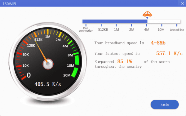 160WiFi speed test 600x374 - 160WiFi to Turn Your Windows Desktop Laptop into A WiFi Hotspot