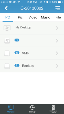 Manage remote files on the phone