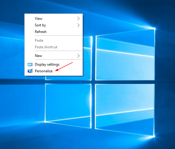 Desktop - right click - personalize