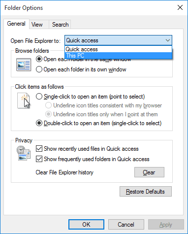 File Explorer - Folder Options