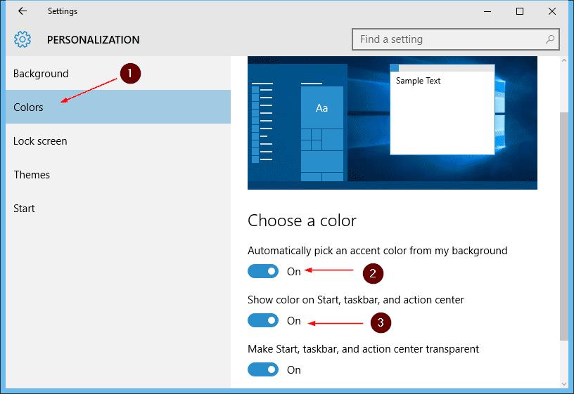 How To Set Start Menu Taskbar Color Based on Desktop