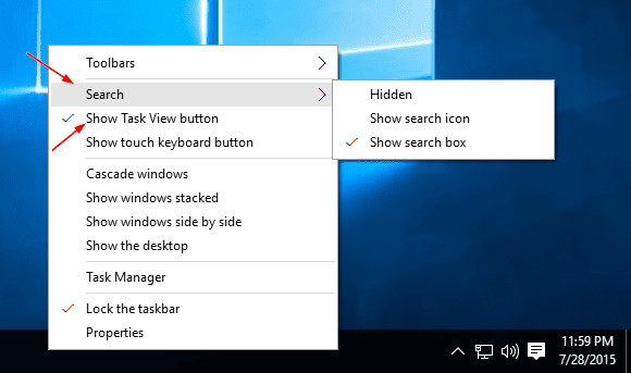 Turning off search and taskview icon