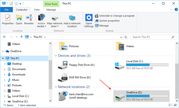 File Explorer OneDrive as mapped drive. 600x362 - Placeholders are Gone from OneDrive in Windows 10, What To Do?