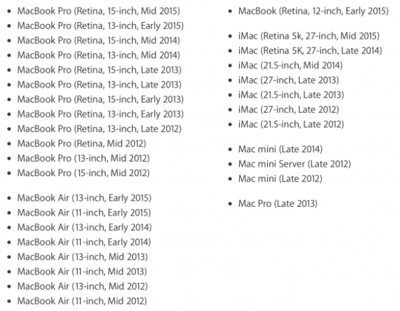 List of Supported Mac to Run Windows 10 with Boot Camp 6.1