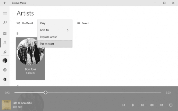 Groove Music - Pin Artist to Start