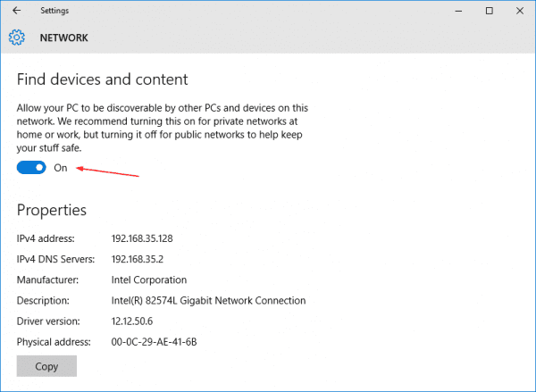 Network - find devices and content in Windows 10