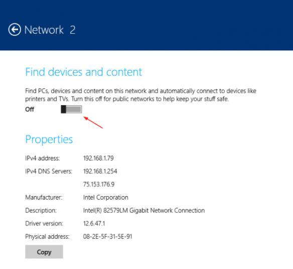 PC Settings - network - Network