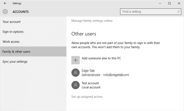Settings Account Other users add someone else 600x361 - What is Assigned Access and How To Set it Up in Windows 10