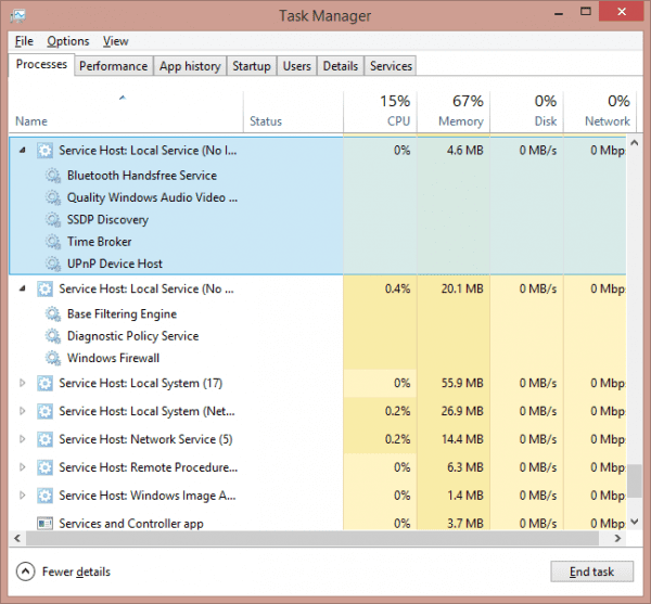 Task Manager svchost expanded 600x557 - How To Find Out Which Services Are Hosted By SVCHOST