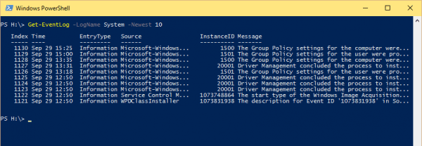 Windows PowerShell 2015 09 29 15 31 14 600x208 - 10 Examples to Check Event Log on Local and Remote Computer Using PowerShell