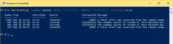 Windows PowerShell 2015 09 29 15 53 58 600x152 - 10 Examples to Check Event Log on Local and Remote Computer Using PowerShell