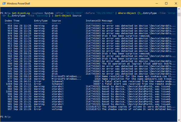 Windows PowerShell 2015 09 29 16 00 21 600x404 - 10 Examples to Check Event Log on Local and Remote Computer Using PowerShell
