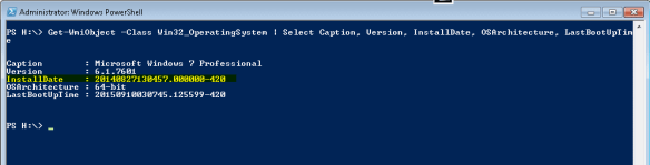 PowerShell - Install Date on Windows 7