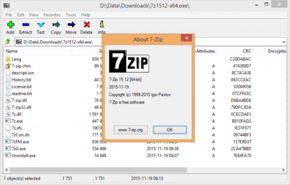 7-Zip about screen