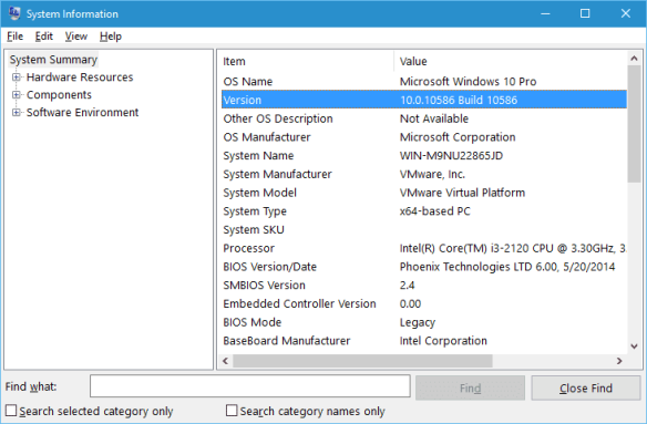 System Information on Windows 10