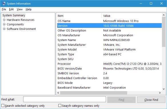 System Information on Windows 10