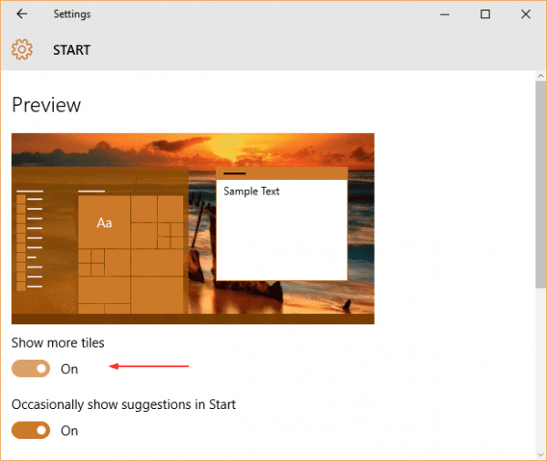 Windows 10 - Settings - Personalization - Start - Show more tiles