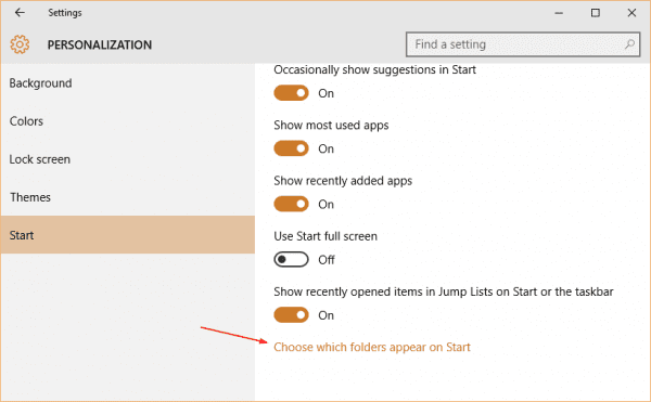 Windows 10 Settings Personalization Start choose which folder 600x371 - How To Add Folder to Appear on Start Menu in Windows 10