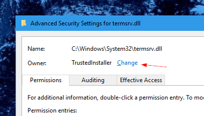 Advanced Security Settings for termsrv.dll  - How To Allow Multiple Concurrent Remote Desktop Sessions in Windows 10