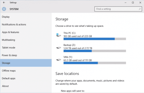 Settings System Storage 600x389 - Windows 10 Tip: How To Clean Up Temporary Files on Each Hard Drive