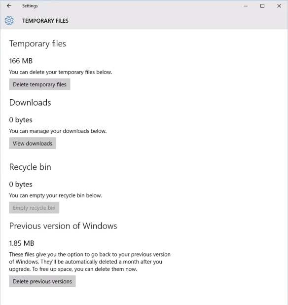 Settings - System - Storage - C Drive - Temporary Files