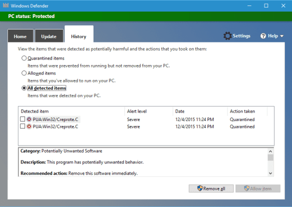 Windows Defender - History tab with PUA