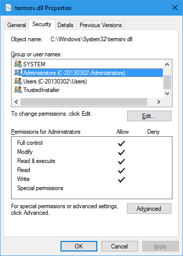 termsrv.dll Properties local admin group with full control - How To Allow Multiple Concurrent Remote Desktop Sessions in Windows 10