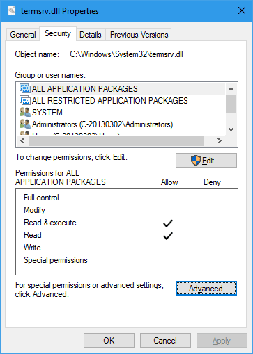 termsrv.dll Properties - How To Allow Multiple Concurrent Remote Desktop Sessions in Windows 10