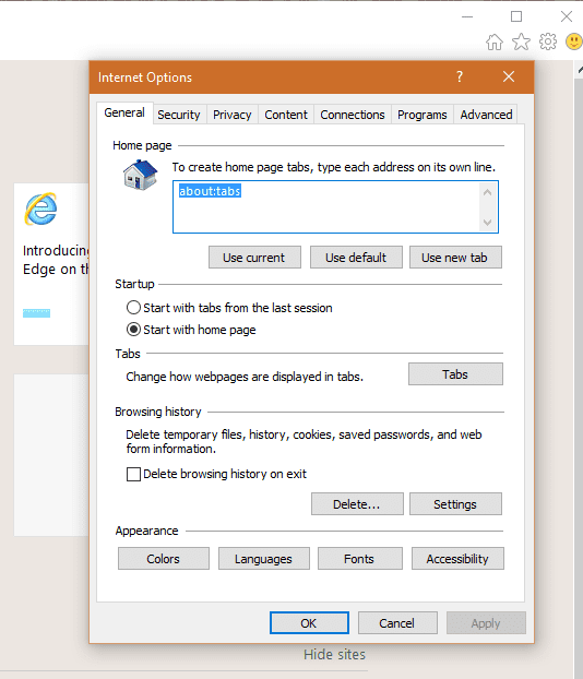 IE option General home page - Settings are now Protected in Internet Explorer 11 on Windows 10