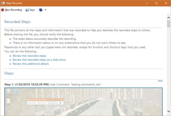 Windows 10 - Steps Recorder - saving the result