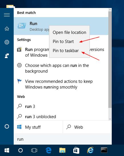 Windows 10 - find Run command