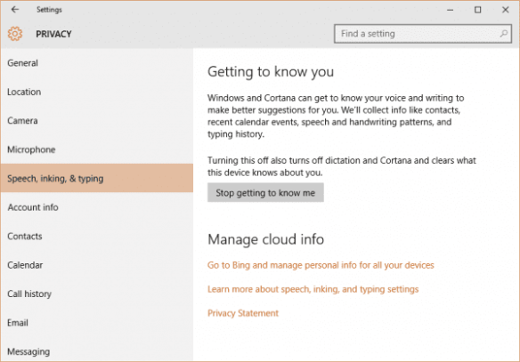 Windows 10 - settings - Privacy - speech inking typing