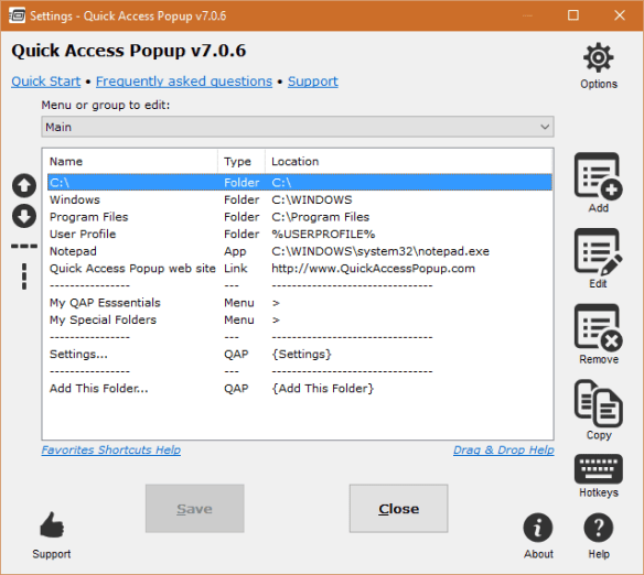 Quick Access Popup - Settings