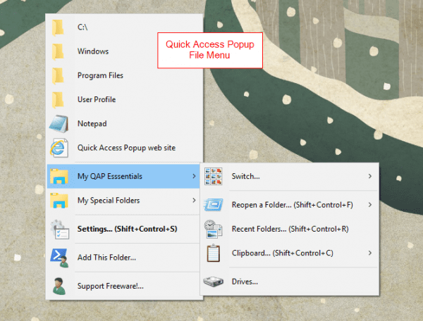 Quick Access Popup menu 600x456 - Open Folders Anywhere From the Desktop with A Mouse Middle-Click