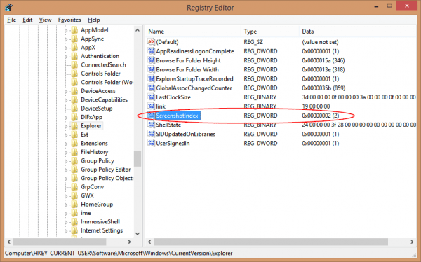 Registry Editor 2016 02 09 22 35 45 1 600x374 - How To Reset Win+PrtScr Screenshot Counter in Windows 10 | 8.1
