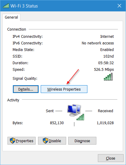 Wi Fi 3 Status 2016 02 19 15 51 07 - How To View Password from Any Previously Connected Wireless Network in Windows 10