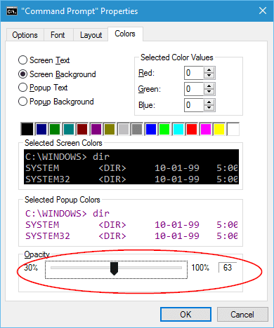 Windows 10 Command Prompt Properties colors tab - Windows 10 Tip: How To Make Command Prompt Console Transparent