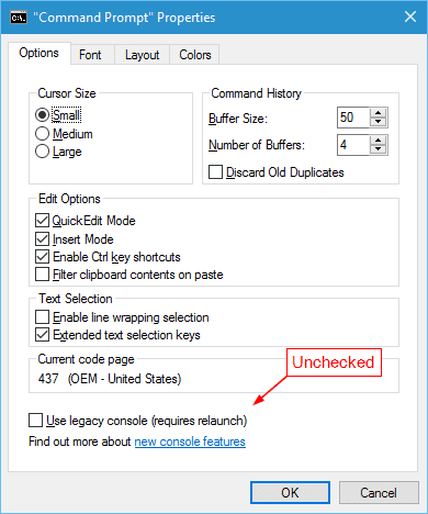 Windows 10 - Command Prompt Properties legacy unchecked