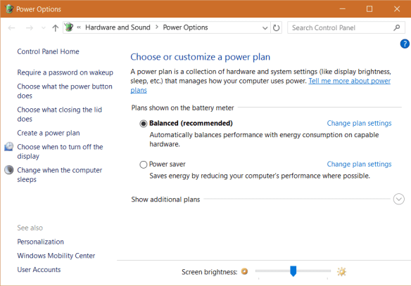 Windows 10 - Power Options