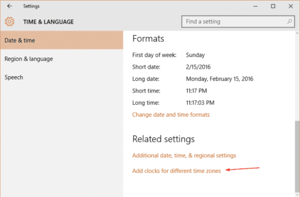 Windows 10 - Settings - Time Language