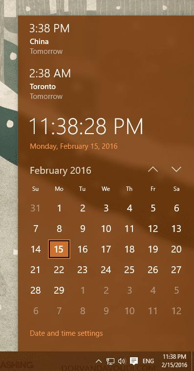 Windows 10 - clock with additional clocks
